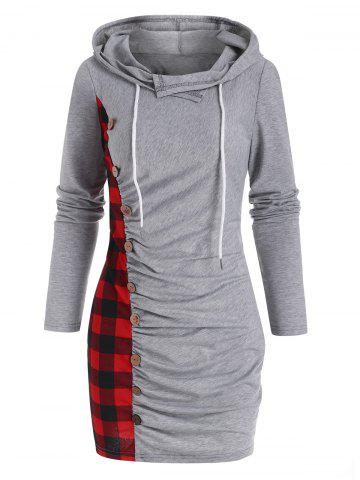 Hooded Plaid Elk Ruched Slinky Dress