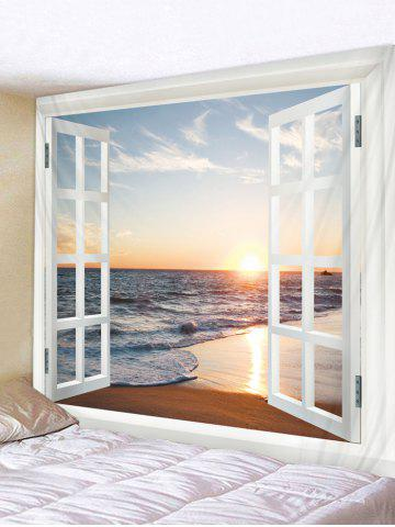 Window Beach Print Wall Tapestry