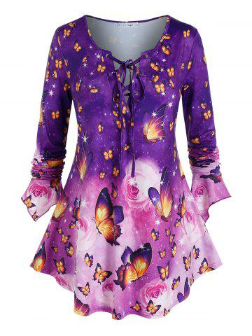Plus Size Butterfly Print Bell Sleeve Lace Up Tee - PURPLE - L