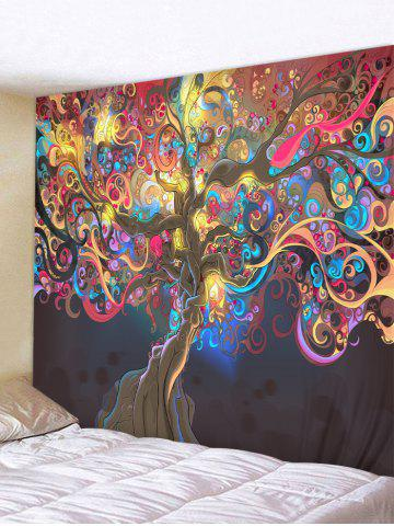 Colored Artistic Tree Print Wall Tapestry - MULTI-A - W91 X L71 INCH