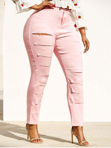 Colored Ladder Distressed Plus Size Skinny Pants - LIGHT PINK - 3XL
