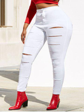 Colored Ladder Distressed Plus Size Skinny Pants - WHITE - XL