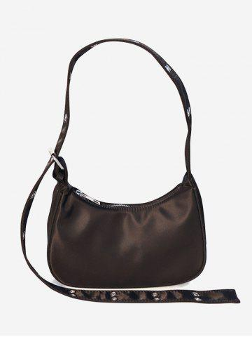 Solid Wide Strap Shoulder Bag - DEEP COFFEE