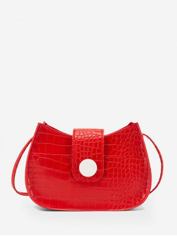 Button Textured Small Crossbody Bag - RED