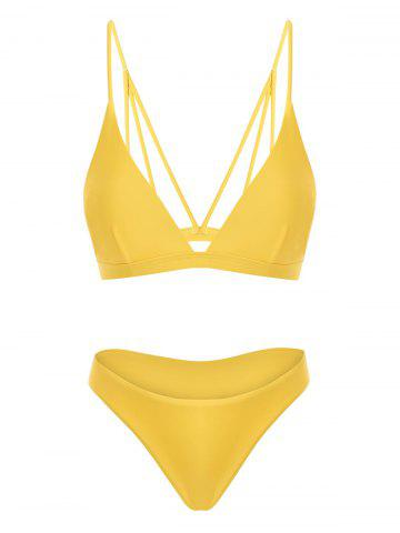 Back Strappy Padded Bathing Suit - YELLOW - XL