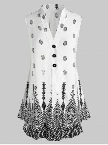 Plus Size Geo Print Buttons Sleeveless Blouse - WHITE - 3X