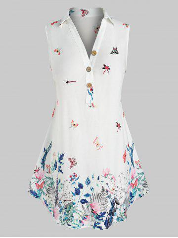 Plus Size Sleeveless Butterfly Floral Print  Blouse - WHITE - L