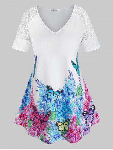 Plus Size Floral Butterfly Print Lace Insert Tee - WHITE - 4X