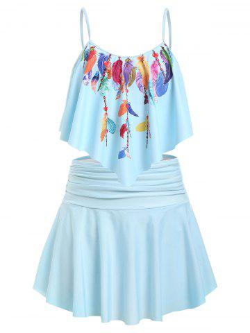 Plus Size Feather Print Flounce Ruched Detail Tankini Swimwear - LIGHT BLUE - 1X