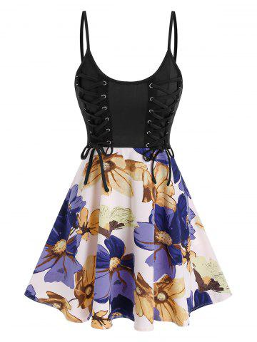 Lace Up Colorblock Flower Printed Slip Dress