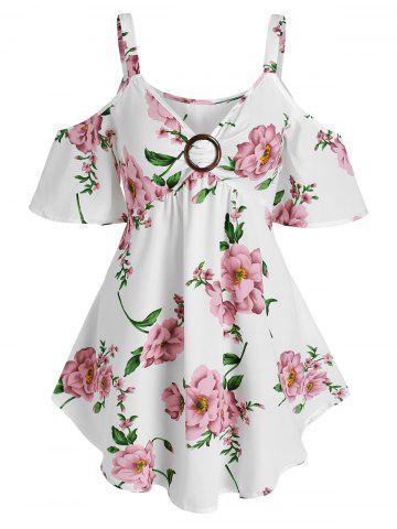 Floral Print O Ring Cold Shoulder Blouse - WHITE - XXL