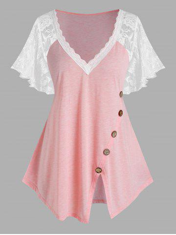 Plus Size Lace Sleeve Button Asymmetric T Shirt - LIGHT PINK - 1X