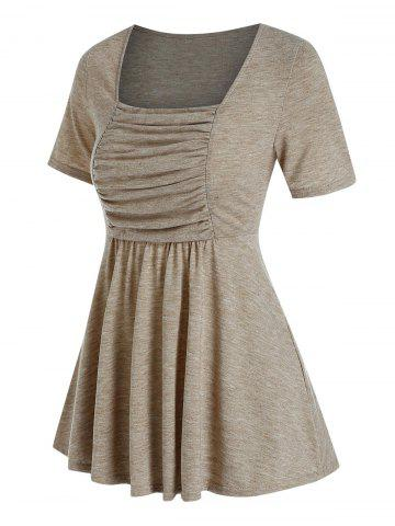 Ruched Bust Flare Casual T Shirt - LIGHT COFFEE - XXXL
