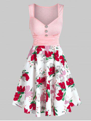 Button Ruched Flower Printed Flare Dress