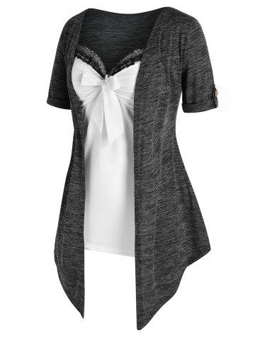 Plus Size Space Dye Open Top and Knotted Cami Top Set - GRAY - 2X