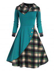 Hooded Plaid Mock Button Overlap Midi Dress -