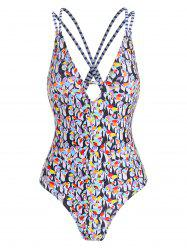 Penguin Strappy Low Cut One-piece Swimsuit -
