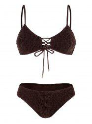 Ensemble de bikini à lacets Shirred - marron foncé XL