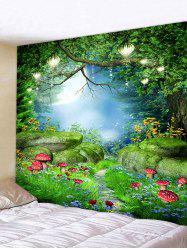 Forest Mushrooms Printing Wall Tapestry -