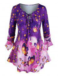 Plus Size Butterfly Print Bell Sleeve Lace Up Tee -