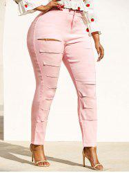 Colored Ladder Distressed Plus Size Skinny Pants -