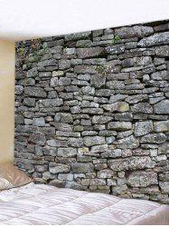 3D Gray Stone Wall Print Tapestry -