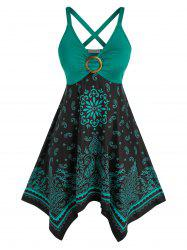 Plus Size Tribal Paisley Print Crisscross Handkerchief Dress -