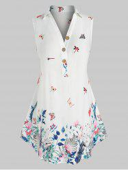 Plus Size Sleeveless Butterfly Floral Print  Blouse -