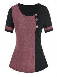 Colorblock Buttons Casual T Shirt -