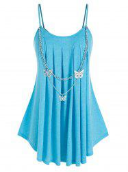 Plus Size Spaghetti Strap Butterfly Chain Embellish Pleated Detail Tunic Top -