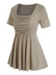 Ruched Bust Flare Casual T Shirt -