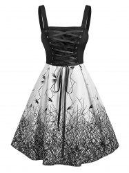 Gothic Lace Up Printed Dress -
