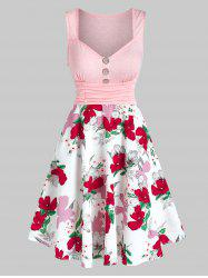 Button Ruched Flower Printed Flare Dress -