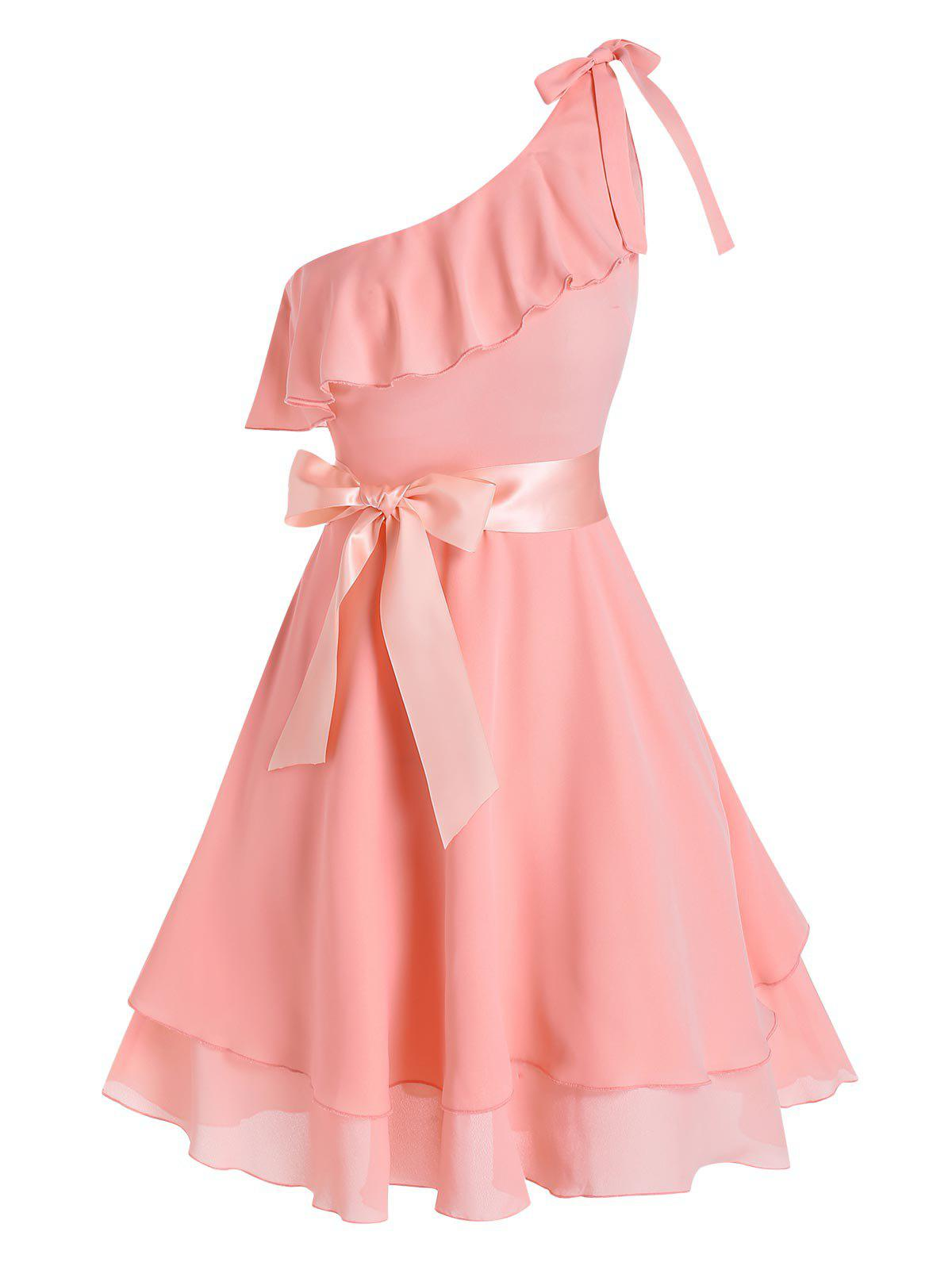 Store One Shoulder Bowknot Flounce Flare Dress