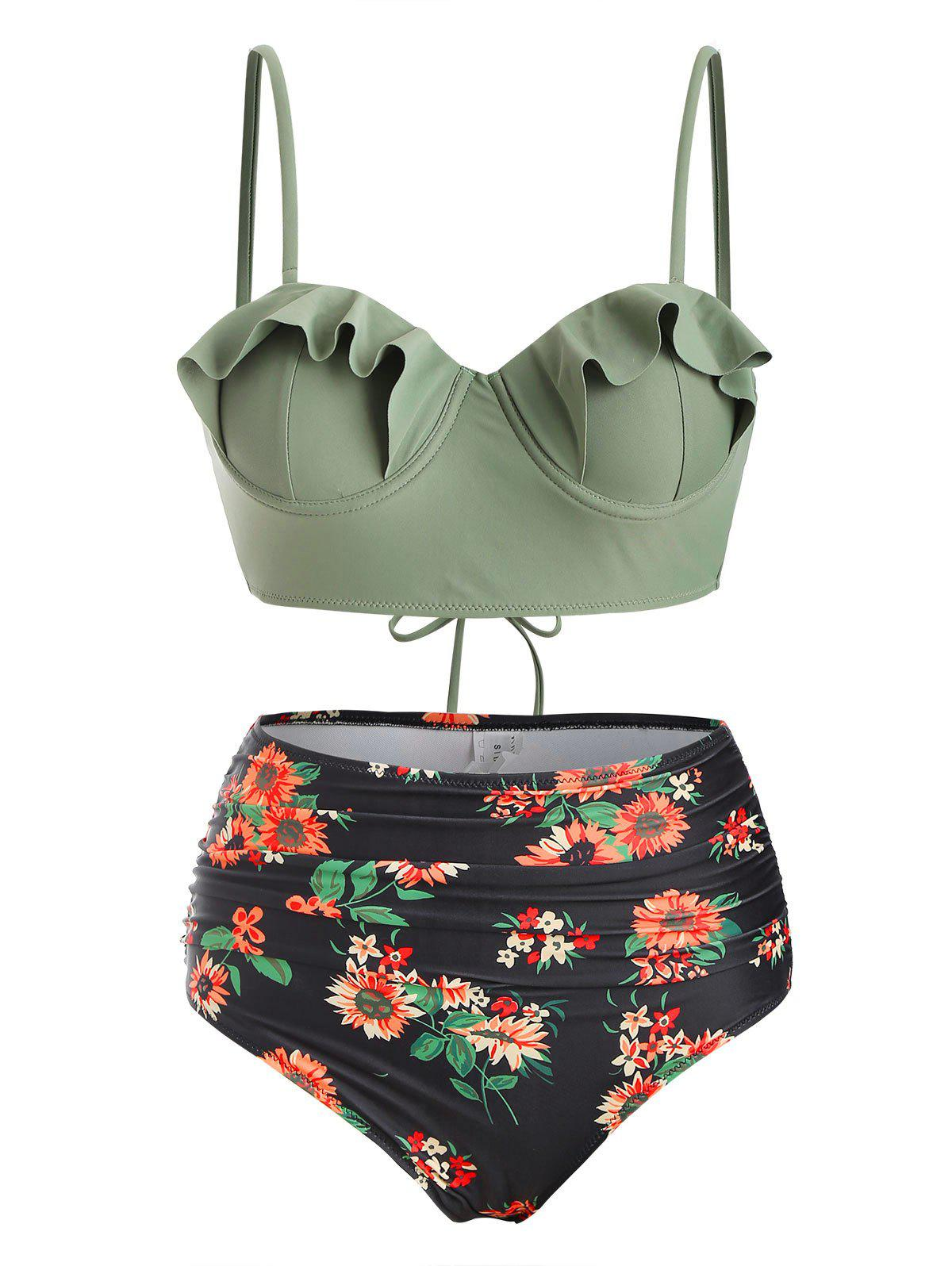Sale Floral Ruffles Push Up Lace-up Ruched Bikini Swimsuit