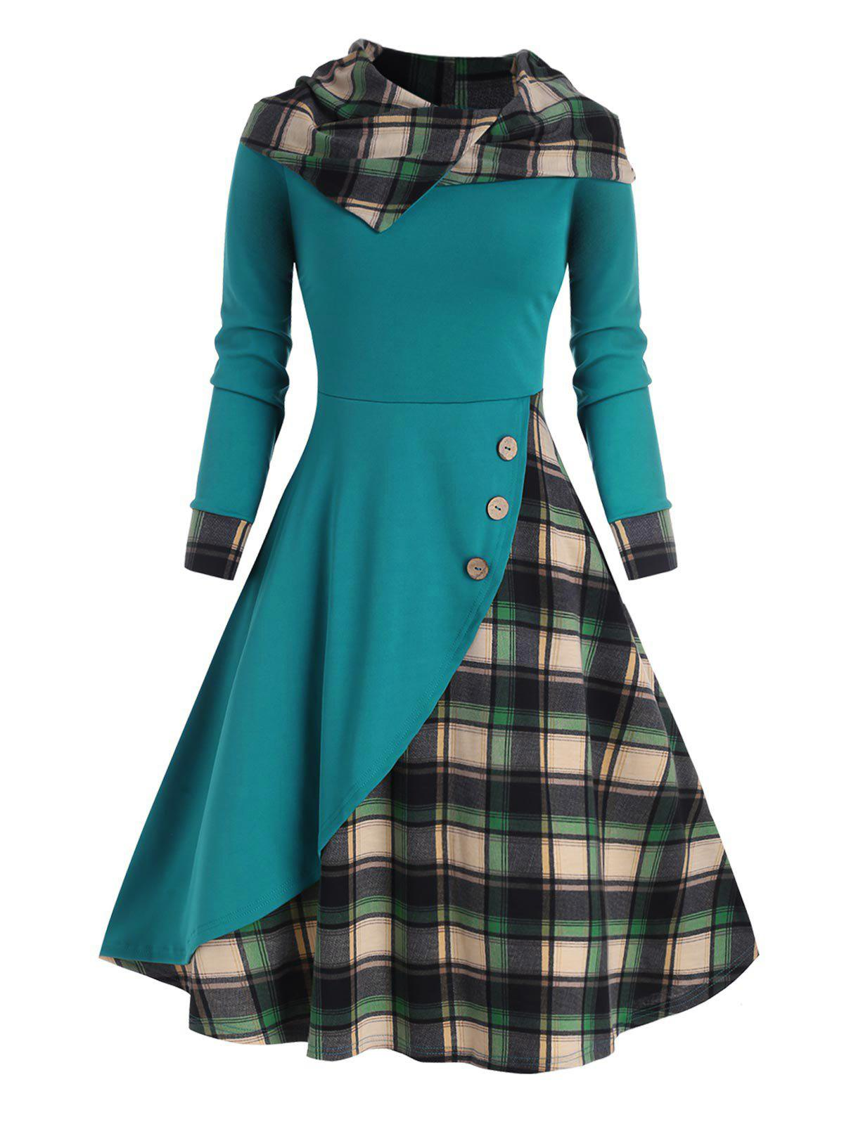 Online Hooded Plaid Mock Button Overlap Midi Dress