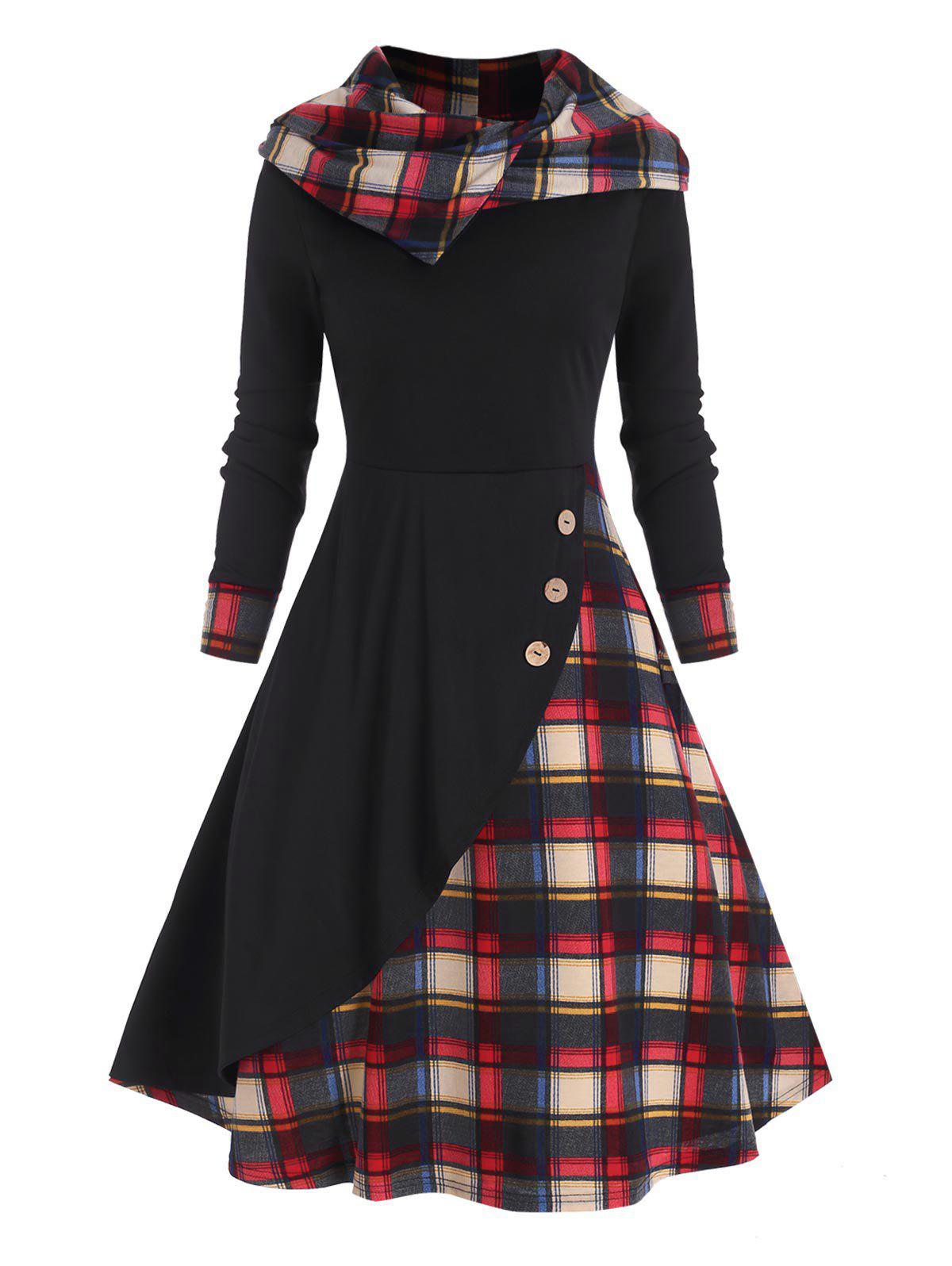 Outfit Hooded Plaid Mock Button Overlap Midi Dress