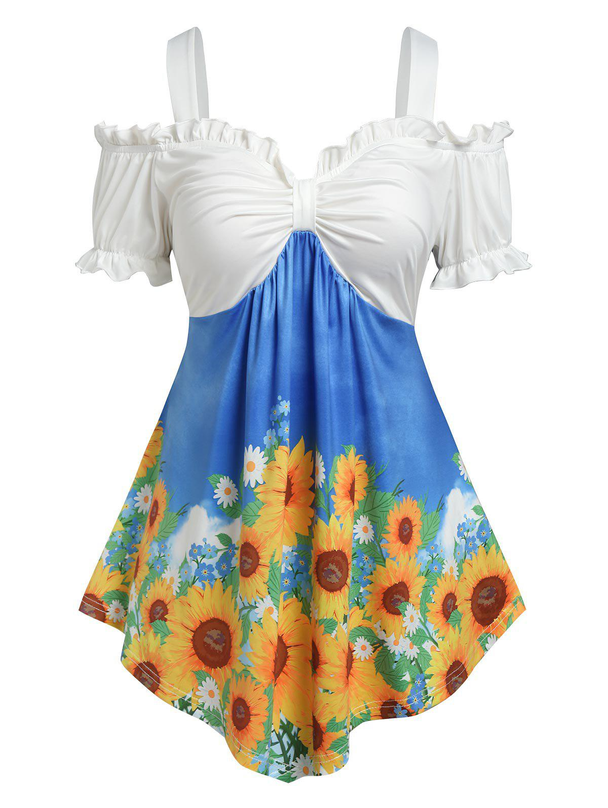 Trendy Plus Size Ruffle Sunflower Print Cold Shoulder Tee