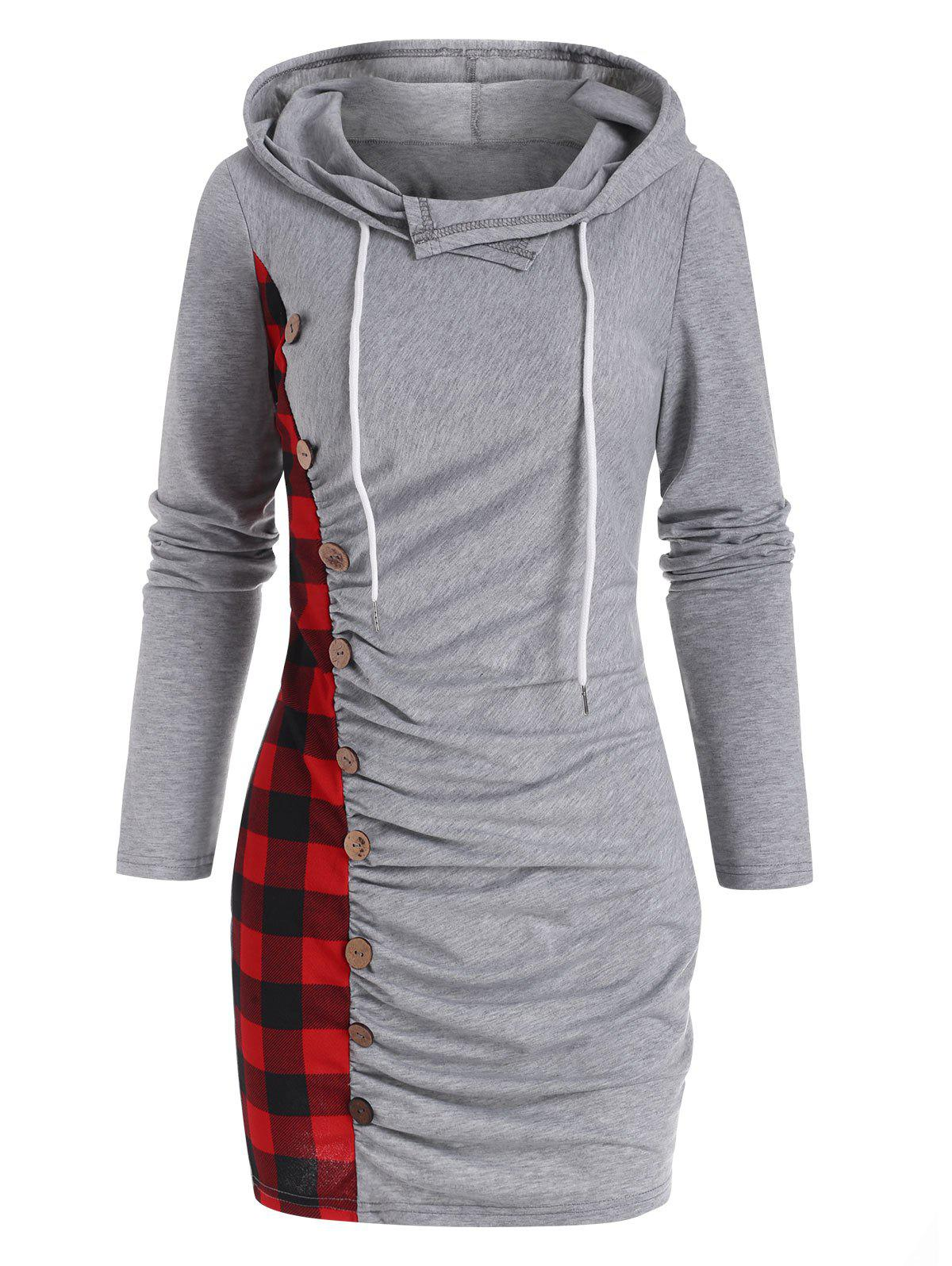 Outfits Hooded Plaid Elk Ruched Slinky Dress
