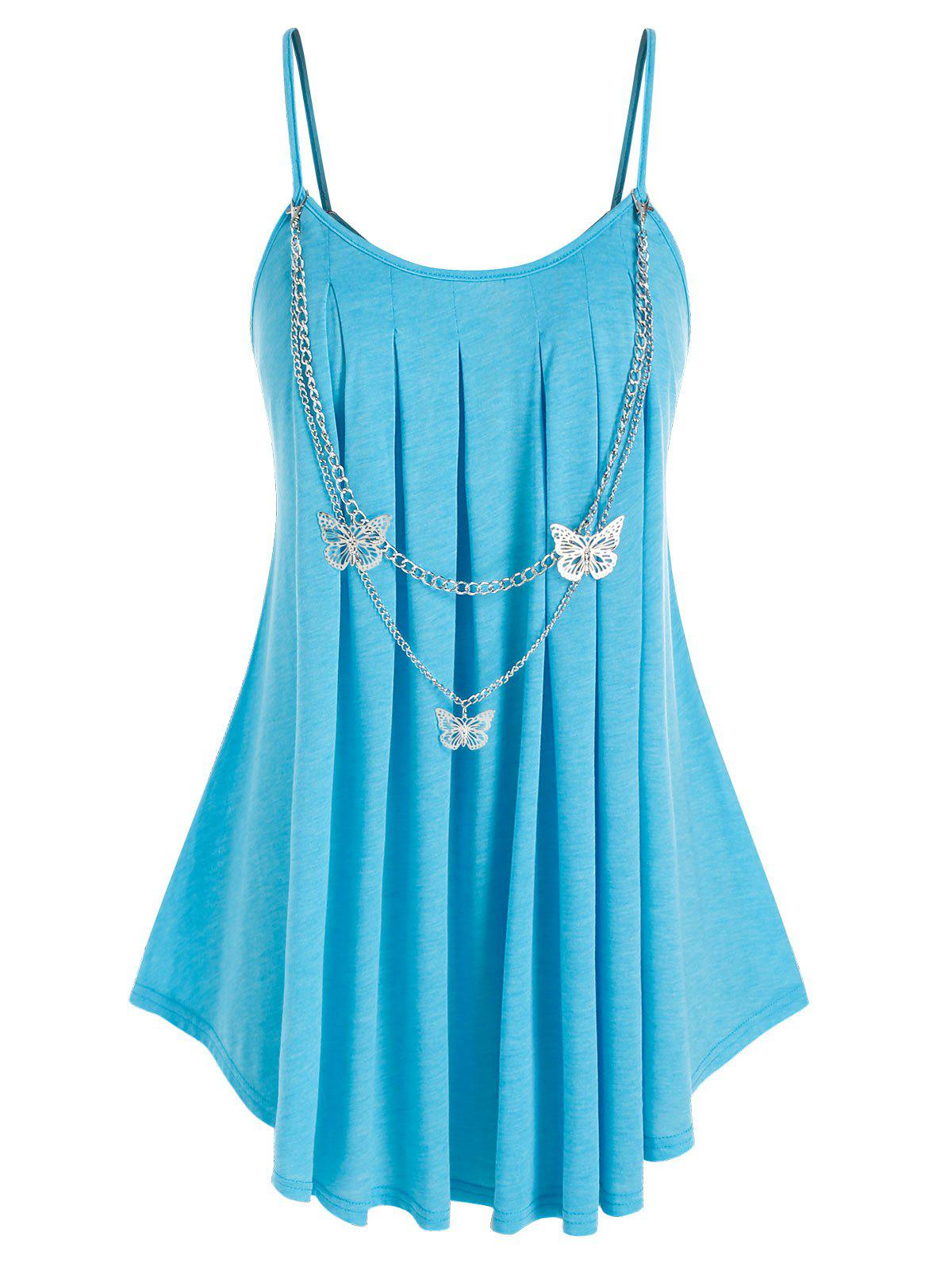 Discount Plus Size Spaghetti Strap Butterfly Chain Embellish Pleated Detail Tunic Top