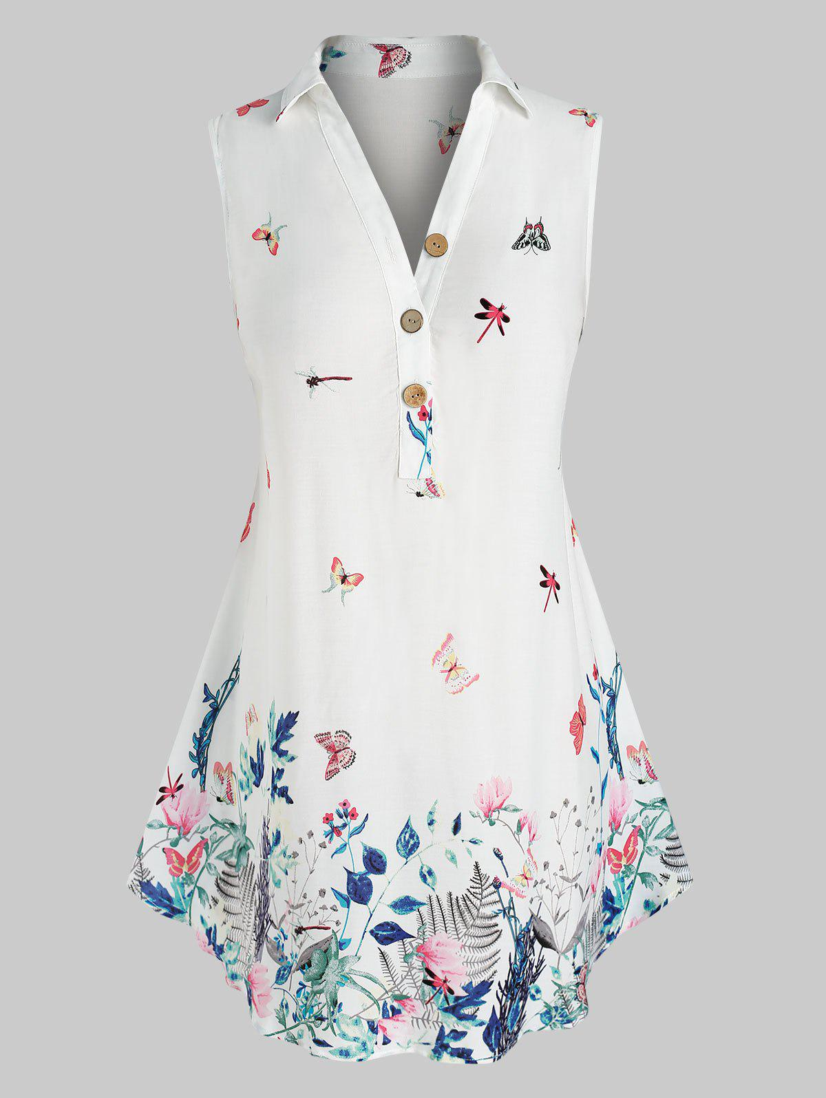 Store Plus Size Sleeveless Butterfly Floral Print  Blouse