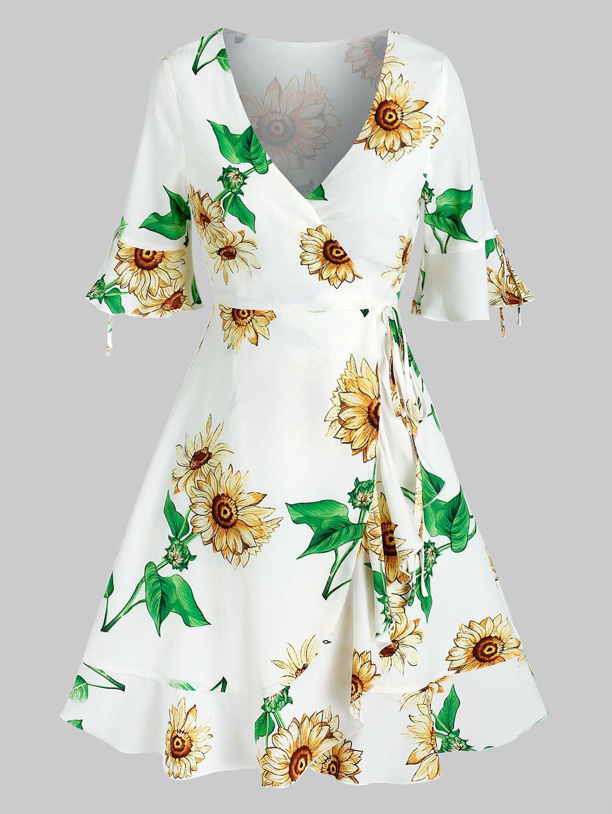 Discount Low Cut Bell Sleeve Floral Print Dress