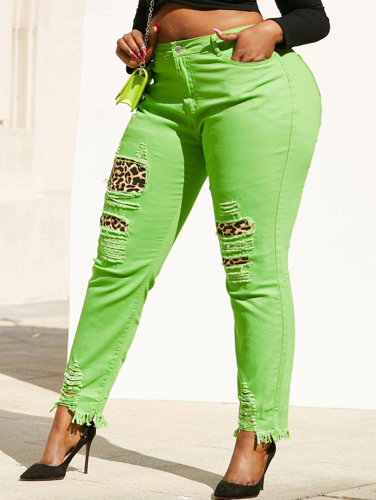 Hot Neon Colored Distressed Leopard Panel Plus Size Skinny Jeans