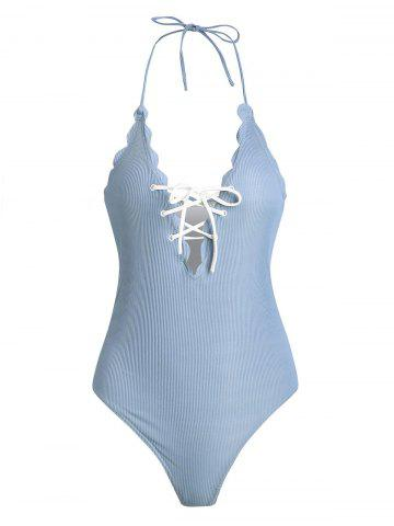 One Piece Scalloped Halter Swimwear with Lace Up - CLOUDY - 2XL