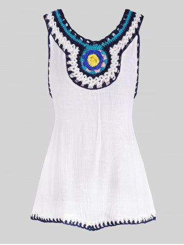 Crochet Neck Sleeveless Cover Up Top - WHITE - ONE SIZE