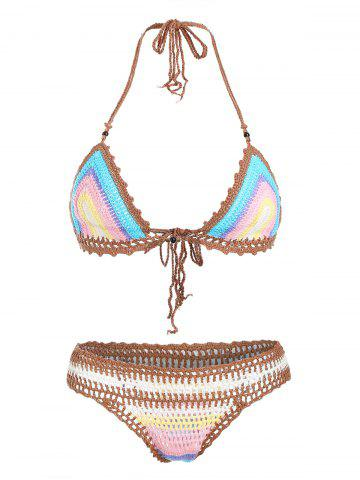 Trendy Halter  Knitted Colored Women's Bikini Set - COLORMIX - ONE SIZE(FIT SIZE XS TO M)