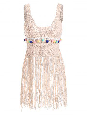Crochet Fringe Cover Up Top - PINK - ONE SIZE