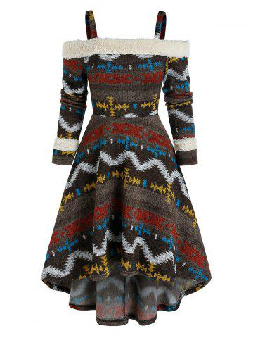 Cold Shoulder Tribal Print High Low Dress