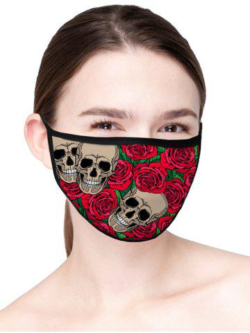 Skull Rose Floral Print Air Layer Fabric Face Mask