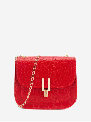 Textured Flap Chain Crossbody Bag - LAVA RED